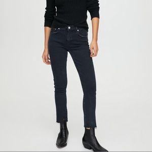 Agolde Toni Mid Rise Ripped Hem Straight Jeans